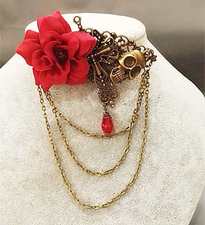 Rose & Skull Hair Clip and Chain-Hairpiece-Red-Burner Shop