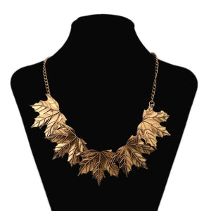 Maple Leaf Chain Statement Necklace-Necklaces-Burner Shop