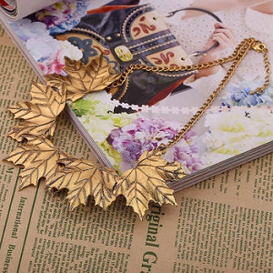 Maple Leaf Chain Statement Necklace-Necklaces-Gold-Burner Shop