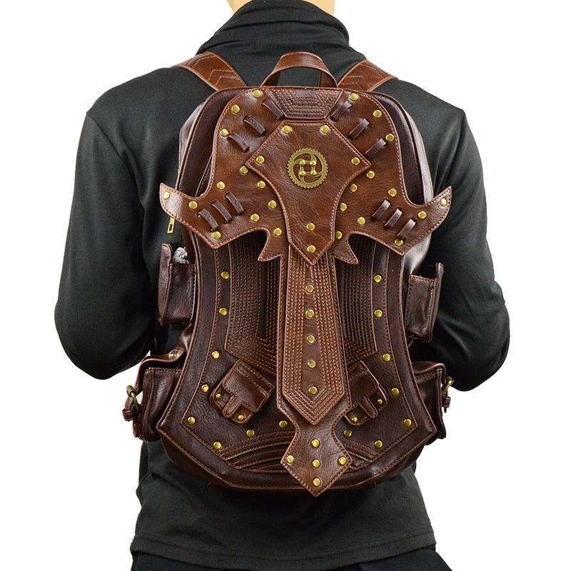 Steampunk Vintage Leather Backpack-Bags-Burner Shop