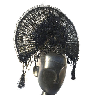 Handmade Gothic Flower Fan Lace Headwear-Head Piece-Burner Shop
