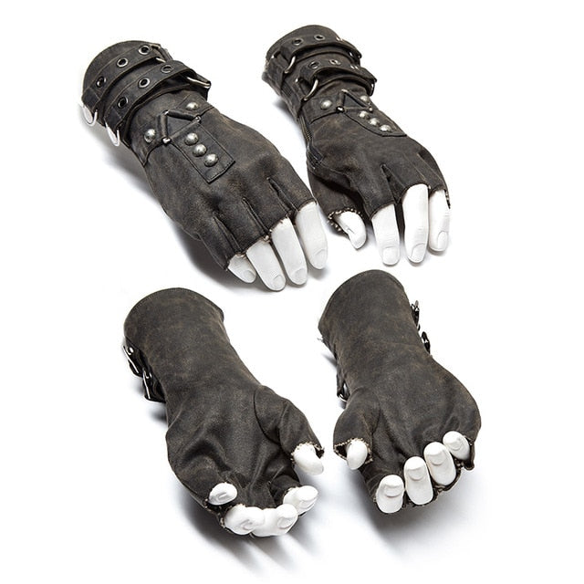 Gothic Fingerless Gloves-Gloves-Gray-XXXL-Burner Shop
