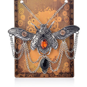 Retro Steampunk Beetle Silver Necklace with Pendant-Necklaces-Burner Shop
