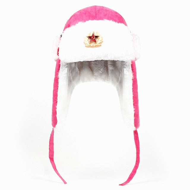 Russian Soviet Army Military Badge Bomber Hat-Hats-Pink-Burner Shop
