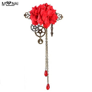Handmade Rose Hair Clip with Chains and Charms-Hairpiece-Red-Burner Shop