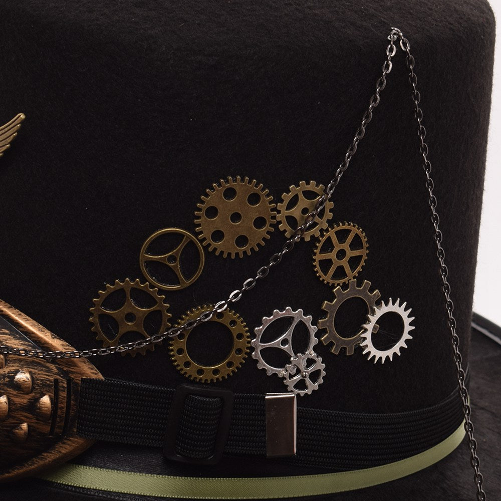 Unisex Steampunk Top Hat with Feathers and Goggles-Hats-Burner Shop