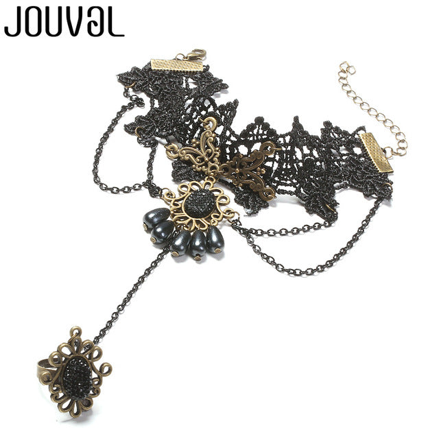 Women Black Lace Finger Ring & Chain Bracelet-Bracelets-B1024BLACK-Burner Shop