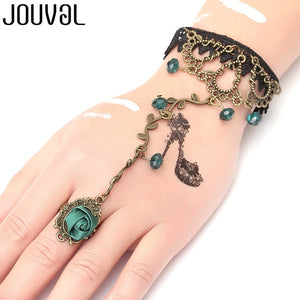 Women Black Lace Finger Ring & Chain Bracelet-Bracelets-B1025-Burner Shop