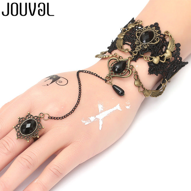 Women Black Lace Finger Ring & Chain Bracelet-Bracelets-B1043-Burner Shop