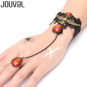Women Black Lace Finger Ring & Chain Bracelet-Bracelets-B1037-Burner Shop