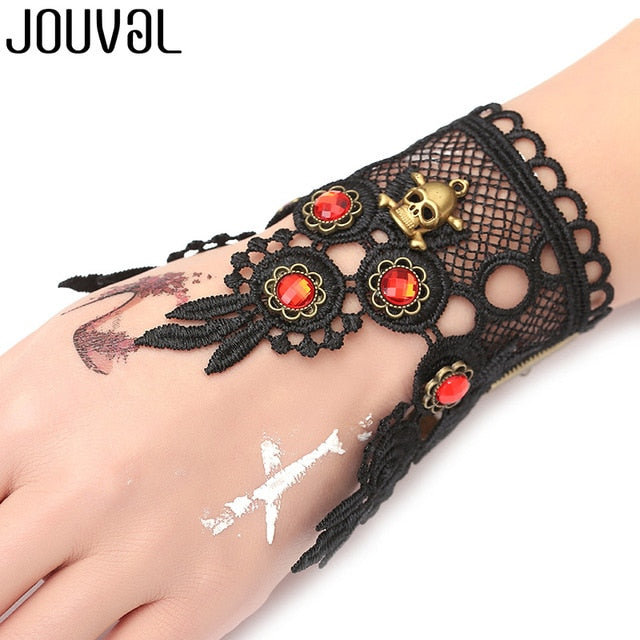 Women Black Lace Finger Ring & Chain Bracelet-Bracelets-B1039-Burner Shop