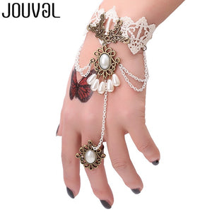 Women Black Lace Finger Ring & Chain Bracelet-Bracelets-Burner Shop