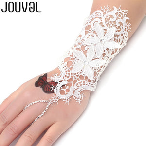 Women Black Lace Finger Ring & Chain Bracelet-Bracelets-B1026-Burner Shop