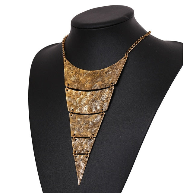 Steampunk Geometric Triangle Choker Statement Necklace-Necklaces-Gold-Burner Shop