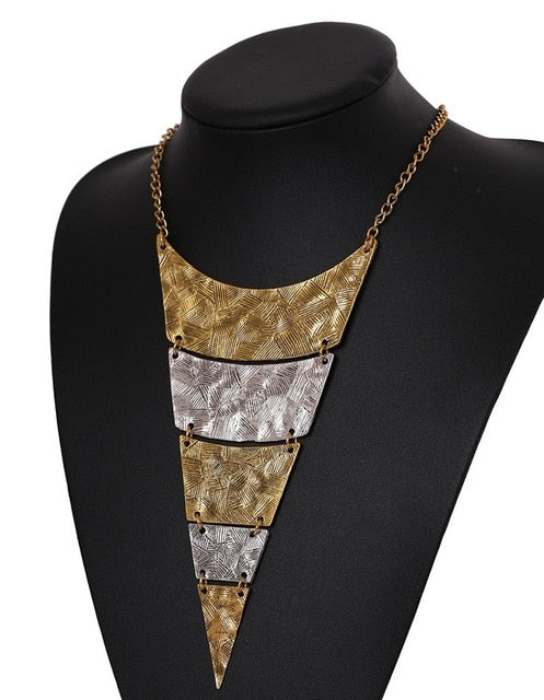 Steampunk Geometric Triangle Choker Statement Necklace-Necklaces-Gold & Silver-Burner Shop
