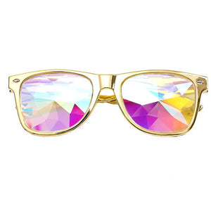 Kaleidoscope Glasses with Diffracted Lens-Glasses-Gold-Burner Shop