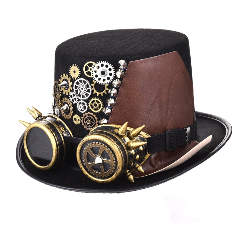 Handmade Unisex Leather Steampunk Gothic Gears and Spikes Top Hat with Goggles-Hats-Burner Shop