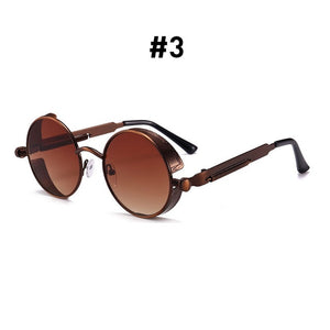 Vintage Round Sunglasses-Shades-3 Brown Brown-NOT INCLUDE BOX-Burner Shop