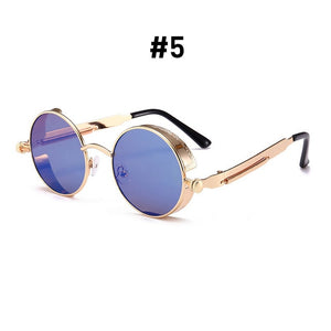 Vintage Round Sunglasses-Shades-5 Gold Blue-NOT INCLUDE BOX-Burner Shop