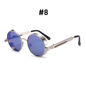 Vintage Round Sunglasses-Shades-8 Silver Blue-NOT INCLUDE BOX-Burner Shop