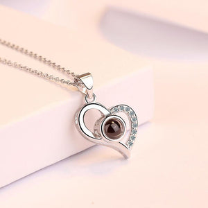 Love Projection Heart Necklace (I Love You in 100 Languages)