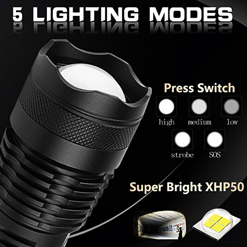 Flashlight LED Zoom USB Rechargeable Power