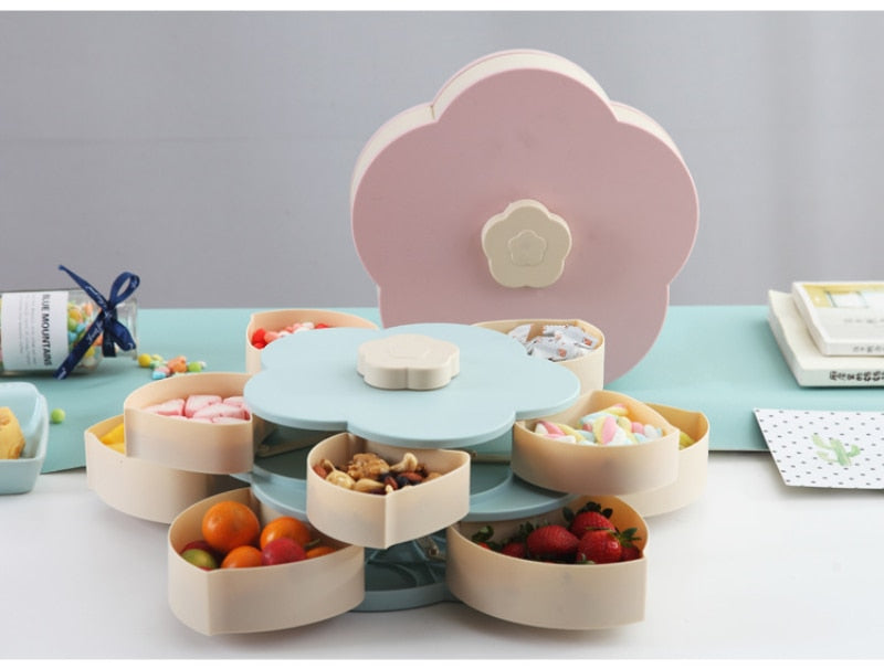 Rotating Fruit Bowl Petal Shape Snack Storage Tray