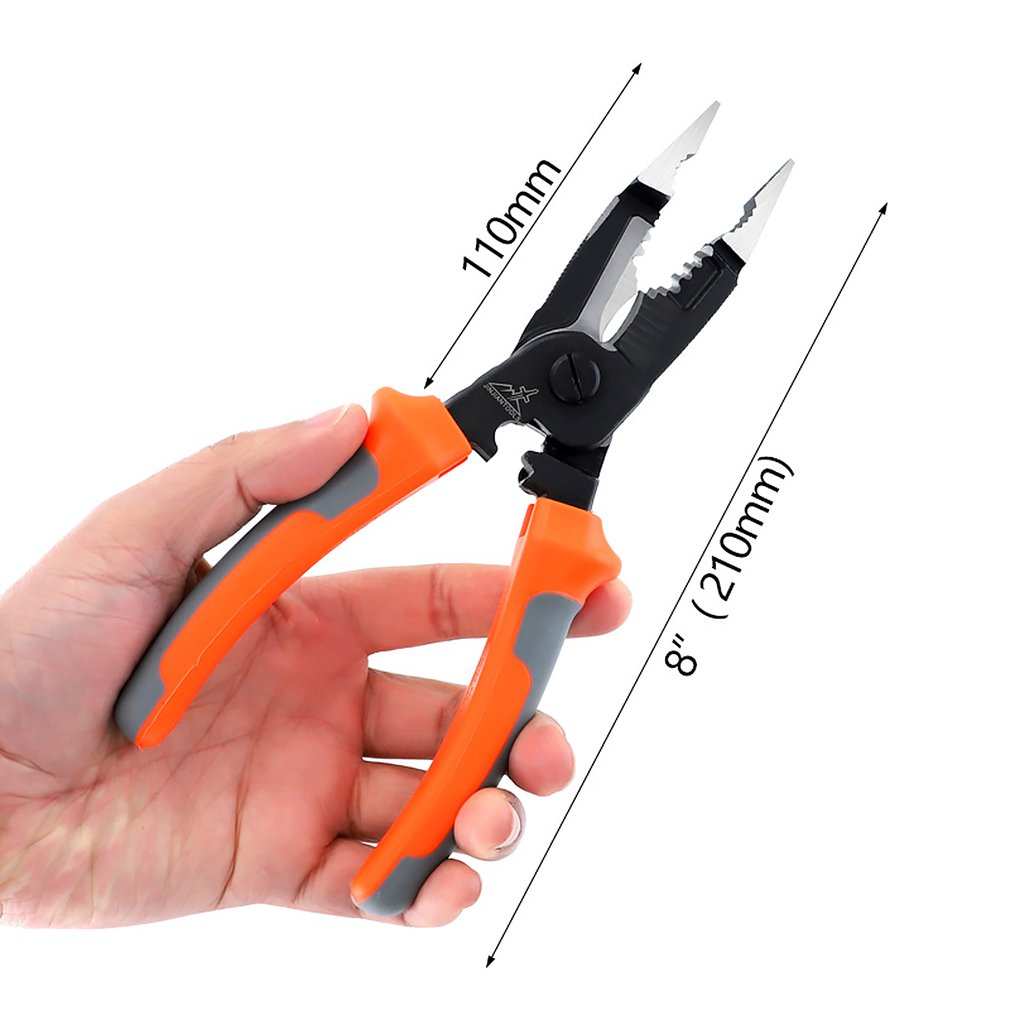 Multi Functional Cable Cutter 8 Inch Wire Stripper Electrician Crimping Pliers Hand Tools