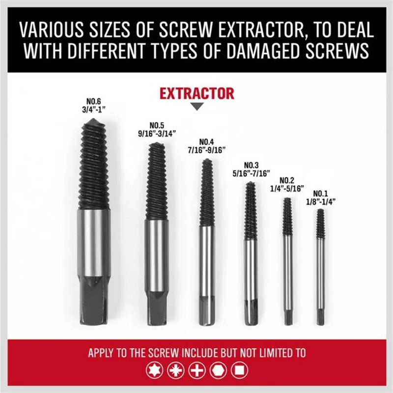 Damaged Screw Extractor Set 6pcs