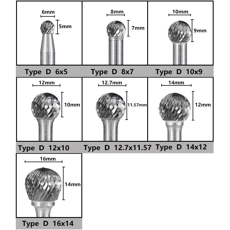 Ball End Double Cut Rotary Burrs File
