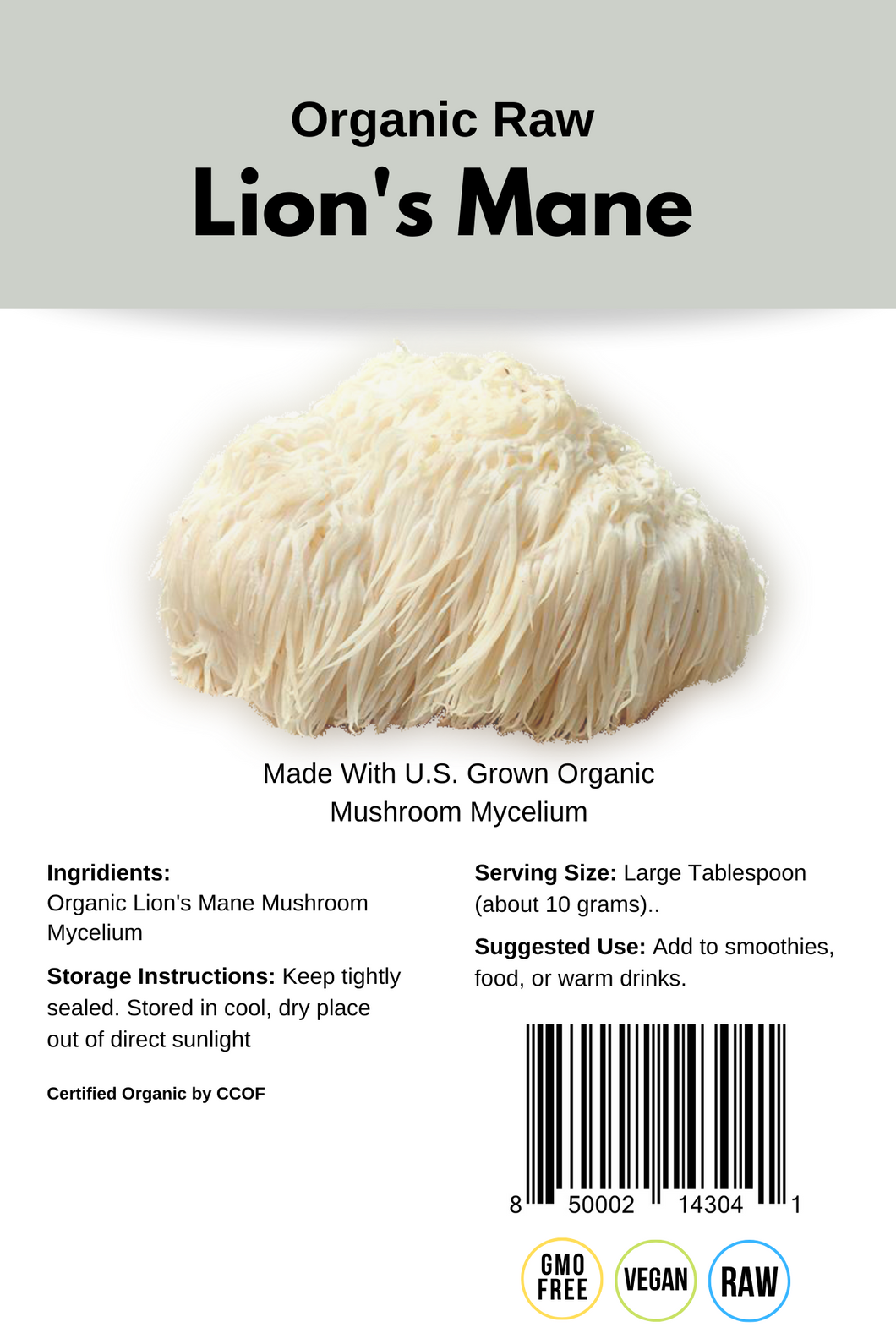 Lion's Mane Mushroom Powder – Organic, Raw (250g)