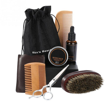 Men Beard Styling Shaping  Cream Beard Oil Kit with Scissors Mustache Hair Care Tool Beard Styling Comb Brush Bag GroomingKit