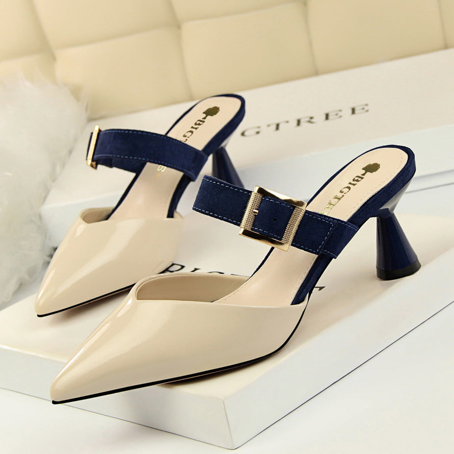 Women's Sandals Mixed Colors Flock Belt Buckle Slipper High Heels Patent Leather Shallow Shoes Sexy 13