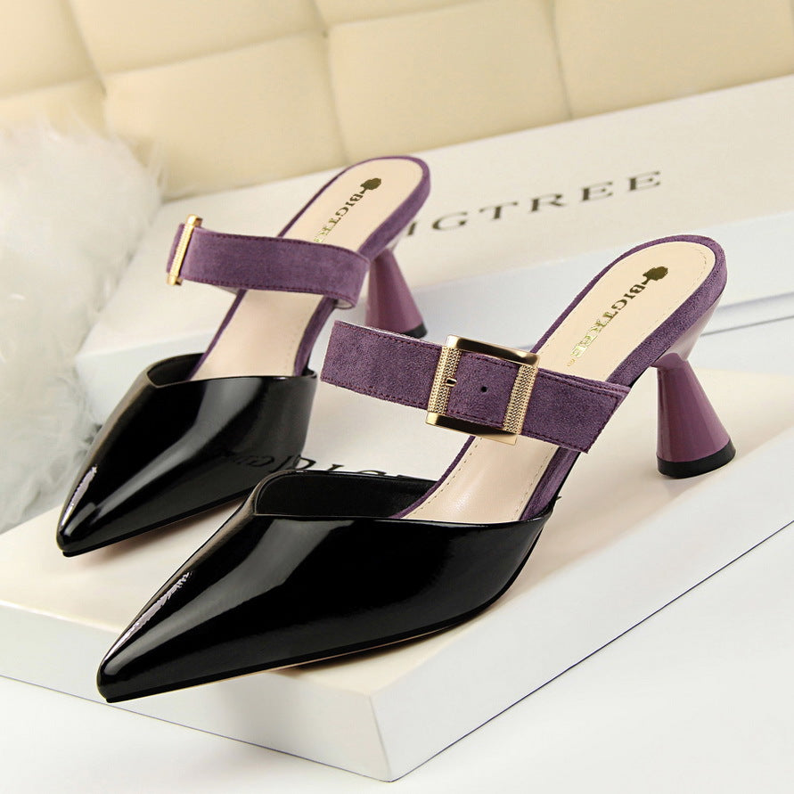Women's Sandals Mixed Colors Flock Belt Buckle Slipper High Heels Patent Leather Shallow Shoes Sexy