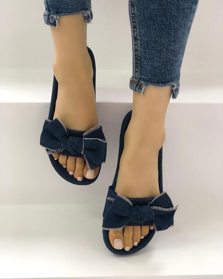 Stylish Denim Bow Design Platform Sandals
