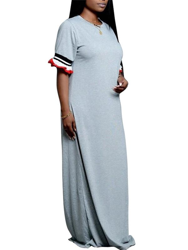 Casual Flare Sleeve Maxi Dress