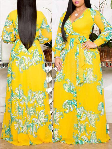 Printed V Neck Long Sleeve Maxi Dress