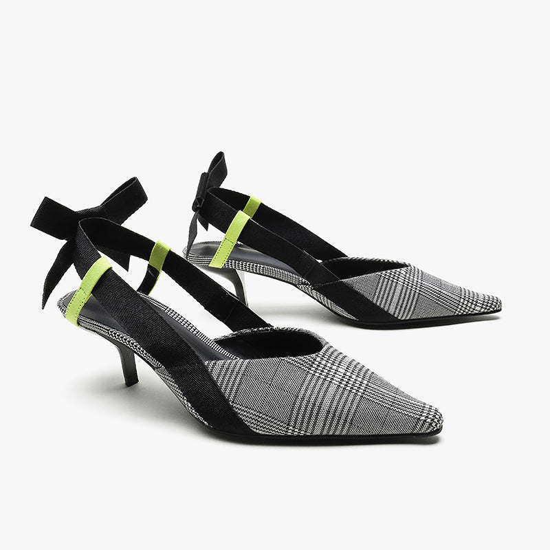 Sandals High-heel Pointed Toe Bowknot Thin Heel Color Matching Women's Shoes