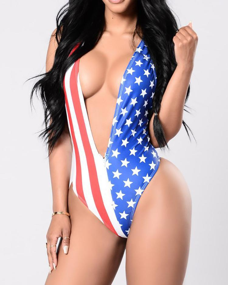 Alluring Flag Design Double Strap Crisscross One-Piece Swimwear 4