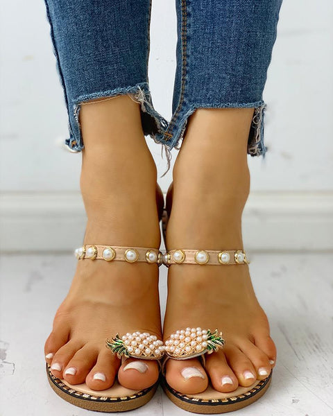 Pineapple Pattern Toe Ring Beaded Casual Sandals