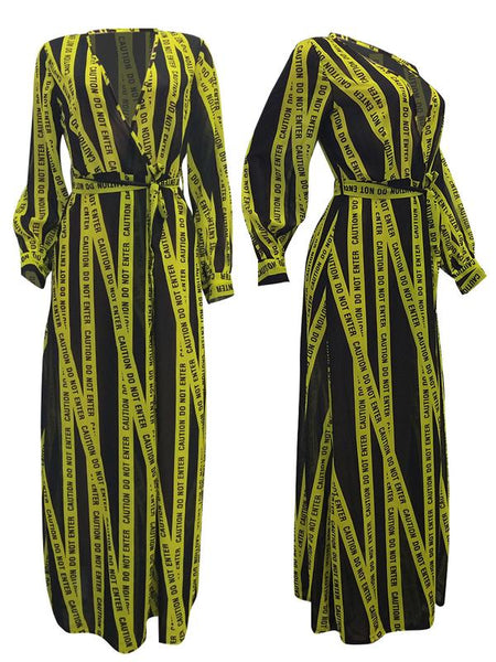 Deep V Neck Digital Print Belted Maxi Dress
