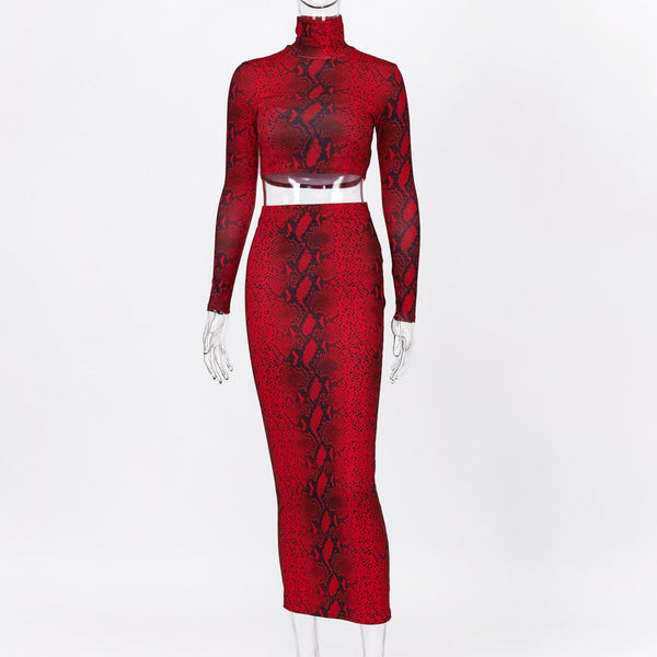 2 Pieces Snake Print Sets Women Fashion High Waist Long Sleeve Short Pullover+Long Skirt Sexy Set