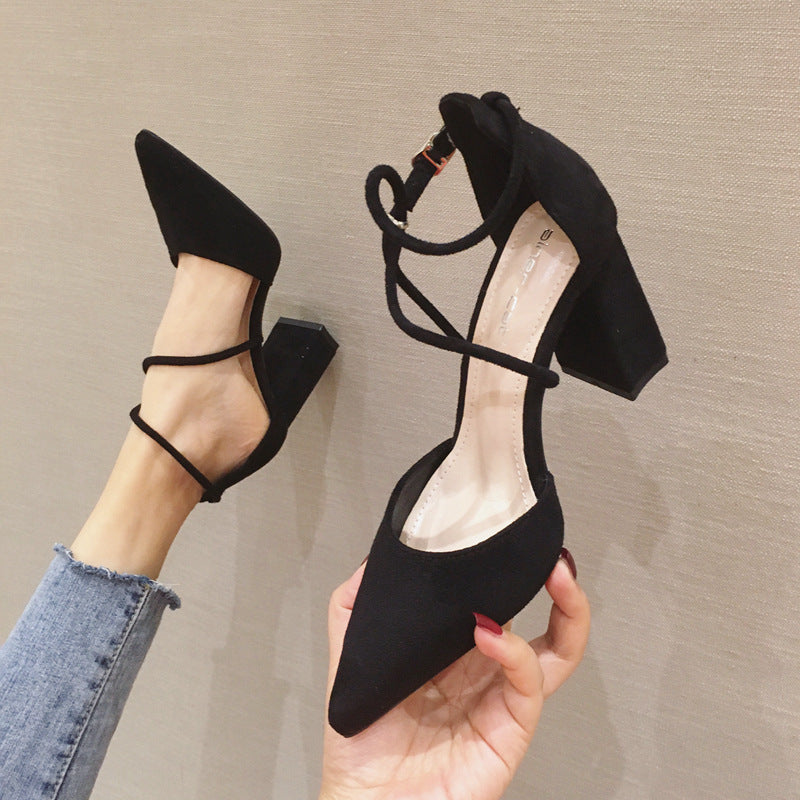 New Style Strappy Suede Heeled Pointed Toe Heels Ladies Sandals 14