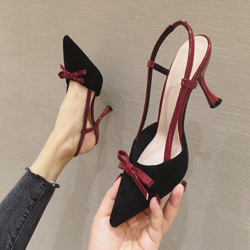 New Fashion Women's High Heels Suede Bowknot Sandals 4
