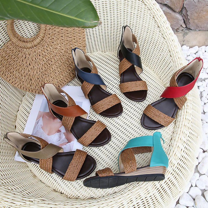 Street Open Toe Ankle Strap Fashion Straw Summer Vintage Zipper Soft Sole Women Sandals