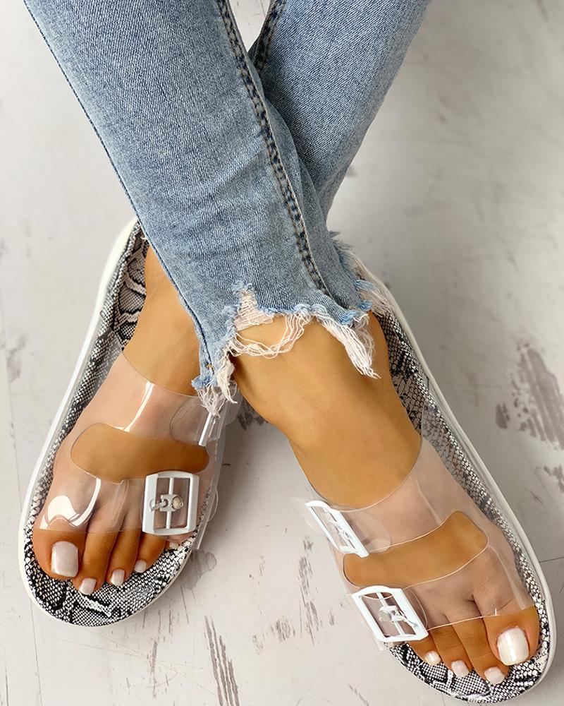 Transparent Buckle Design Flat Sandals