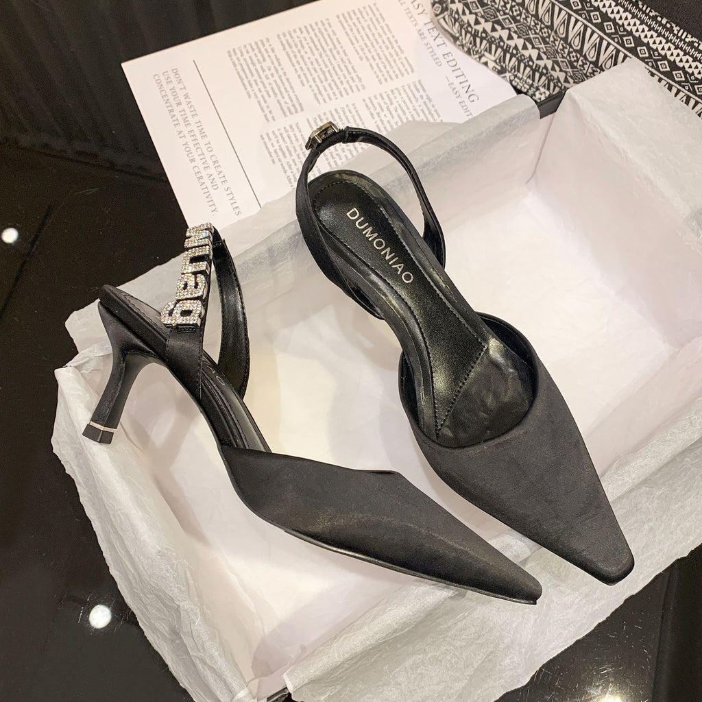 Pointed Toe High Heels Women's Shoes Black Rhinestone Sandals