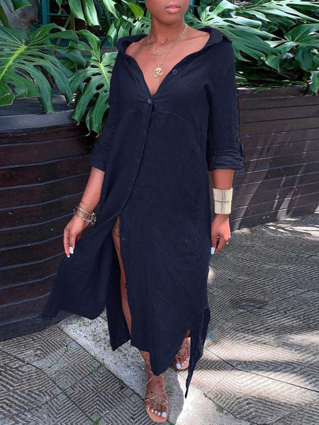 Asymmetric Hem Solid Color Maxi Shirt Dress