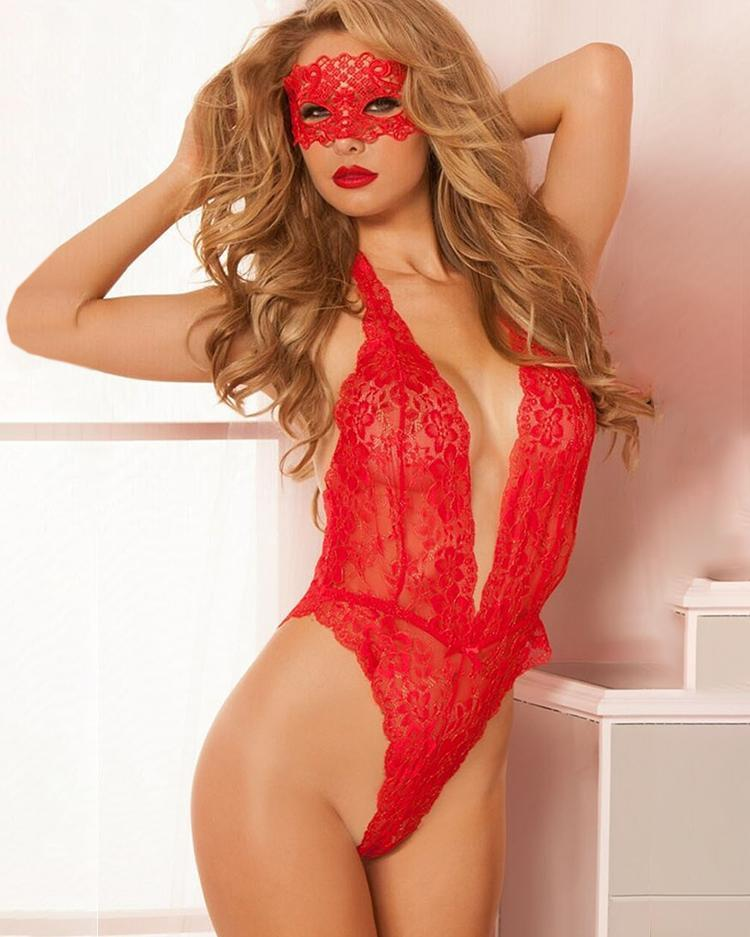 Low Cut Lace Teddy & Eyemask