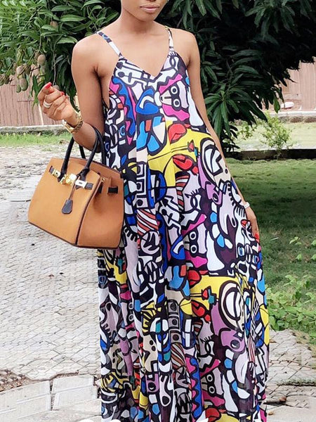Graffiti Print Open Back Maxi Dress